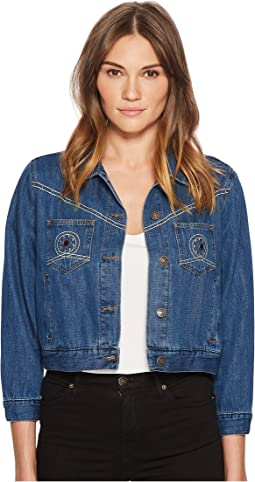 The Kooples Seventies Denim Jacket Chest Pockets Studs Detail
