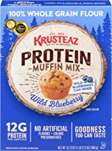Krusteaz Protein Muffin Mix, Wild Blueberry - 100% Whole Grain Flour - No Artificial Flavors, Colors or Preservatives - 16...
