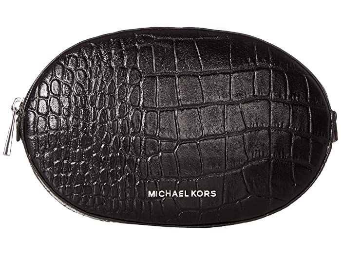 MICHAEL Michael Kors Croc Jelly Bean Belt Bag (Black/Polished Nickel) Women