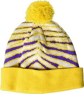 Men's Standard Knit Winter Stocking Beanie Pom Hat, Purple/Gold/White, One Size