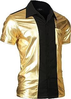 Mens Disco Shirt Costume Short Sleeve Button Down Fashion Party Shirt Shiny Metallic Nightclub Bowling Shirt