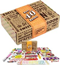 VINTAGE CANDY CO. 40TH BIRTHDAY RETRO CANDY GIFT BOX - 1979 Decade Childhood Nostalgic Candies - Fun Funny Gag Gift Basket - Milestone FORTIETH Birthday - PERFECT For Man Or Woman Turning 40 Years Old