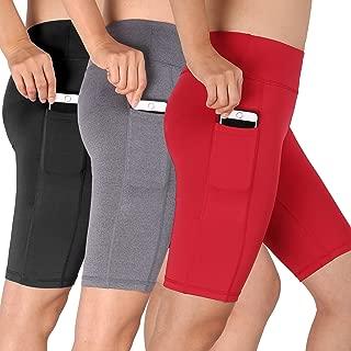Women's High Waist Stretch Running Workout Shorts with Pocket