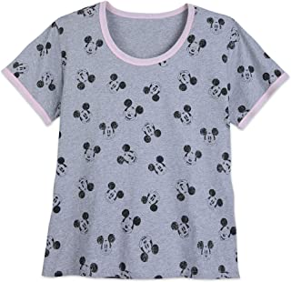 Disney Mickey Mouse Allover Ringer T-Shirt for Women - Extended Size Multi