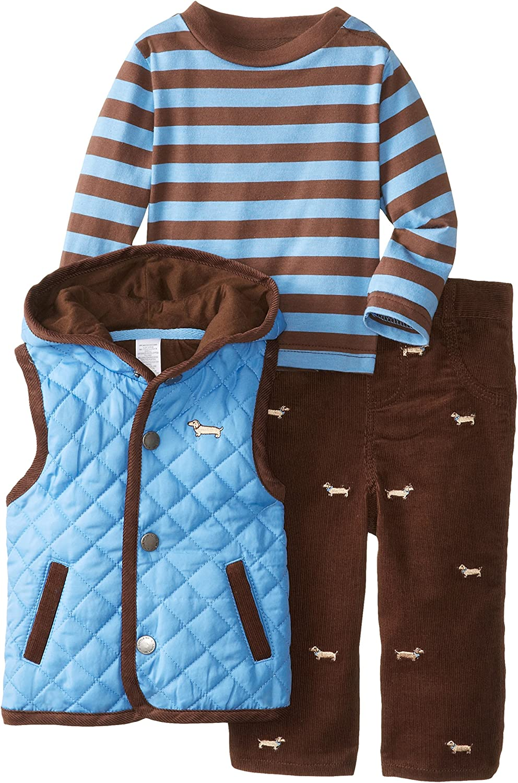 Little Me Baby Boys' Dog 3 Piece Vest Set