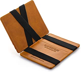 JAIMIE JACOBS ® Magic Wallet Flap Boy Slim - The Original - Slim Wallet, RFID Blocking Wallet, Genuine Leather, Card Wallet, Credit Card Holder, Travel Wallet, Bifold Wallet Men (Cognac)