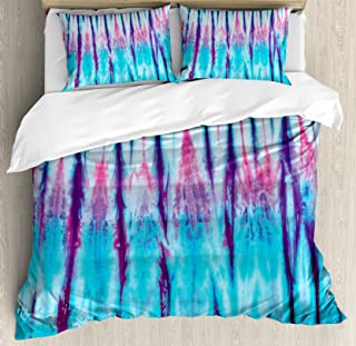 Ambesonne Ethnic Duvet Cover Set, Close up of Vertical Gradient Tie Dye Effect Hippie Alter Life Retro Artwork Print, Decorative 3 Piece Bedding Set with 2 Pillow Shams, Queen Size, Blue Pink