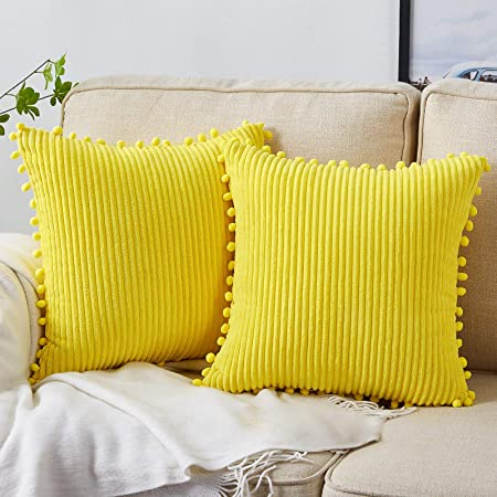 Bedwin Pack of 2 Corduroy Soft Decorative Throw Pillow Cover with Pom-poms, Striped Velvet Square Cushion Covers Pillowcase for Sofa Couch Bed Chair Car Living Room, 18x18 Inch/45x45 cm (Yellow)