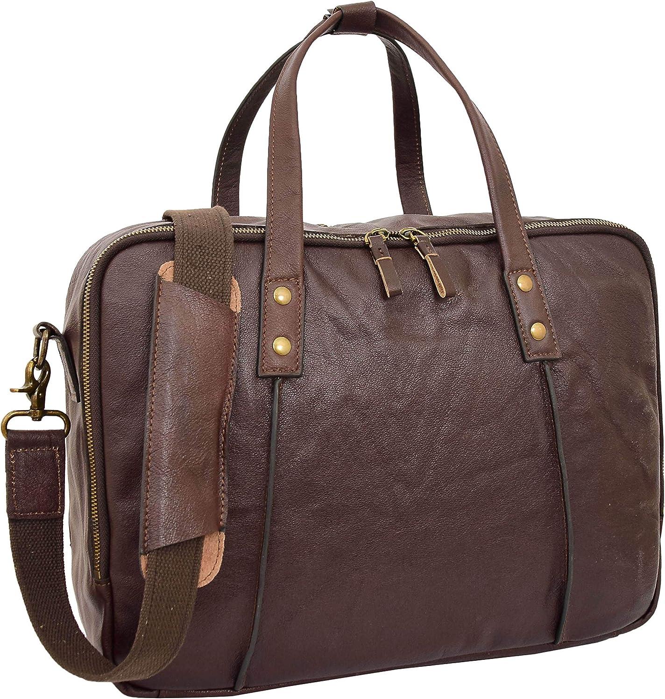 Ladies Leather Briefcase Cross Body Organiser Work Laptop Bag H8284 Brown