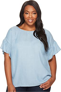 TWO by Vince Camuto - Plus Size Ruffled Short Sleeve Relaxed Indigo Tencel Tee