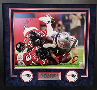 Julian Edelman New England Patriots Signed Autograph Custom Framed 16x20 Suede Matted to 26x28 The Catch Photo Photograph JSA Witnessed Certified