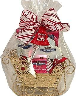Ghirardelli Gold Glitter Sleigh Chocolate Gift Basket