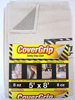CoverGrip 005808 8oz 5'x8' 8 oz Canvas Safety Drop Cloth, 5' x 8', Off Off White
