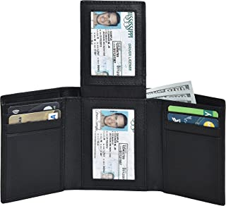 Leather trifold Slim Wallet for Men – RFID Blocking Slim Wallet with Notch