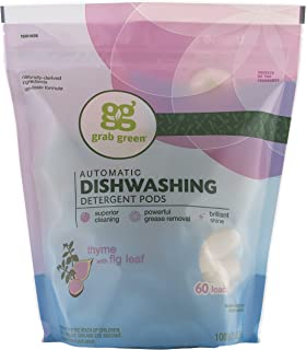 Grab Green Natural Dishwasher Detergent Pods, Thyme + Fig Leaf-With Essential Oils, 60 Count, Organic Enzyme-Powered, Plant & Mineral-Based