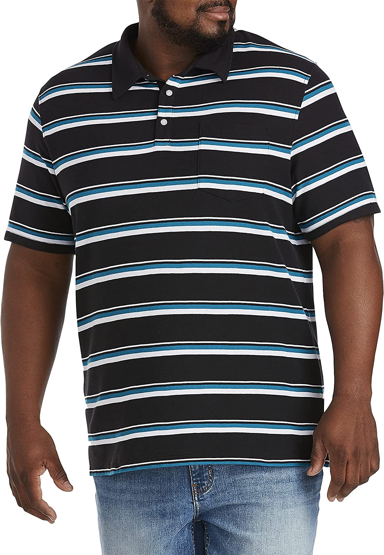 Harbor Bay by DXL Big and Tall Multi Stripe Polo Shirt, Black Multi