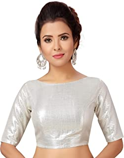 STUDIO Shringaar Women's Silver Brocade Stitched Saree Blouse With Elbow Length Sleeves