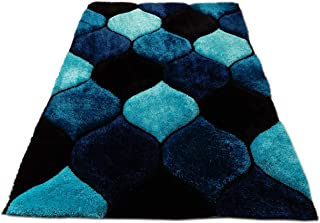 3D Contemporary Super Soft Polyester Fiber Area Shaggy Rugs for Living Room Bedroom Rug Mats Home Decor (5 x 7, Turquoise/Black)