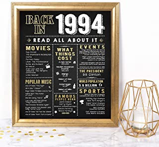 Katie Doodle 25th Birthday Decorations Anniversary for Women Men | Includes 8x10 Back-in-1994 Sign [Unframed], BD025, Black/Gold