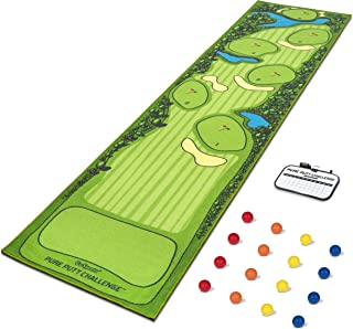 GoSports Pure Putt Challenge Putting Games | Huge 10ft Putting Green Rug with 16 Golf Balls & Scorecard | 2-4 Player Indoor or Outdoor Games for All Skill Levels