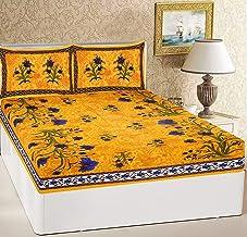 RajasthaniKart® Comfort Rajasthani Jaipuri Traditional Sanganeri Print 144 TC Cotton Double Size Bedsheet with 2 Pillow Covers - Yellow, King