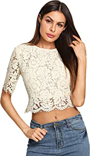 c39417ac3acac MakeMeChic Women s Short Sleeve Sexy Sheer Blouse Mesh Lace Crop Top