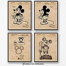 Original Mickey Mouse Patent Vintage Style Art Poster Prints, Set of 4 (8x10) Unframed Photos, Great Wall Art Decor Gifts Under 20 for Home, Office, Garage, Shop, Man Cave, Teacher, Walt Disney Fan