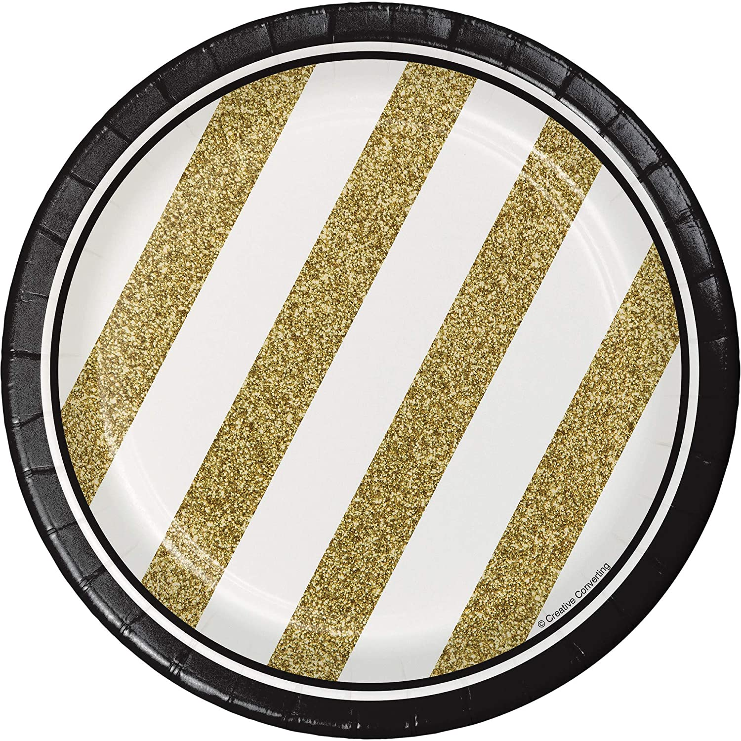 Club Pack of 96 White and gold Striped Round Party Luncheon Paper Plates 7