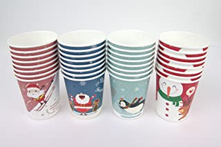 Set of 32 Christmas Design 10oz Disposable Hot Beverage Insulated Paper Party Cups 8 of Each Design Wedding Birthday Graduation Office Party Supplies Decorations Wholesale Takeout Coffee Cup (A Type)