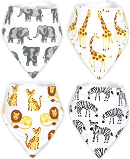 Stadela Baby 100% Cotton Bandana Drool Bibs for Drooling and Teething Nursery Burp Cloths 4 Pack Unisex Baby Shower Gift Set for Girl and Boy ? Safari Africa Jungle Animal Elephant Giraffe Lion Zebra