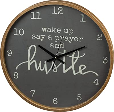Wake Up Say A Prayer and Hustle Decorative Wall Clock 20 Inch