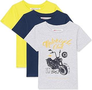 Marca Amazon - RED WAGON Camiseta Motocicleta Vintage Niños, Pack de 3