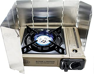 Gas ONE New GS-3400P with [10 Plate WindScreen], Dual Fuel Portable Propane & Butane Camping and Backpacking Gas Stove Burner with Carrying Case