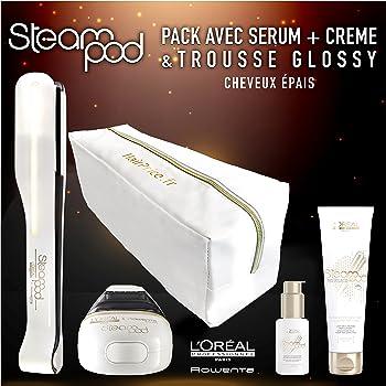 L'Oreal - Pack de plancha de vapor para el pelo Steampod 2.0 con sérum, loción alisadora para cabello grueso y neceser de almacenamiento