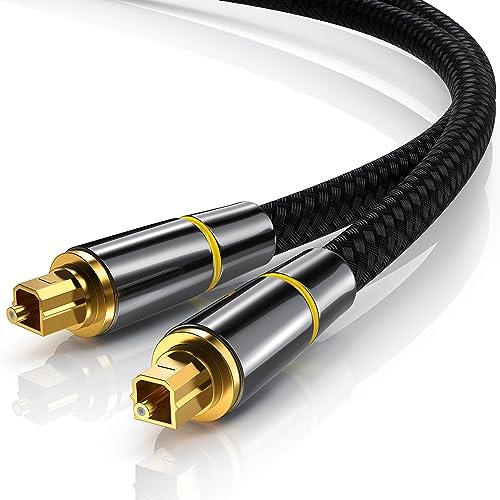 CSL - 3m (mètres) Câble Toslink HQ Platinum (Optique/numérique) | Connecteur Toslink | Fibre Optique | Connecteur HQ en métal avec Contacts plaqués d'or | Home Entertainment/HiFi / Consoles