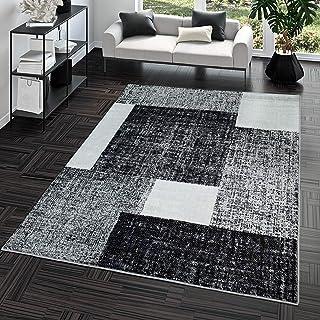 comprar comparacion TT Home Alfombra Pelo Corto Económica Fácil Jaspeada Cuadros Blanco Gris Antracita, Größe:80x150 cm