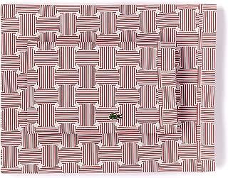 Lacoste 100% Cotton Percale Pillowcase Pair, Geo Compass Print, Garnet, King