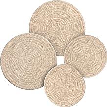 Potholders Set Trivets Set 4pcs 2 sizes 7 Inches & 9 Inches Diameter 100% Eco Pure Cotton Thread Weave Trivets for Hot Pot...
