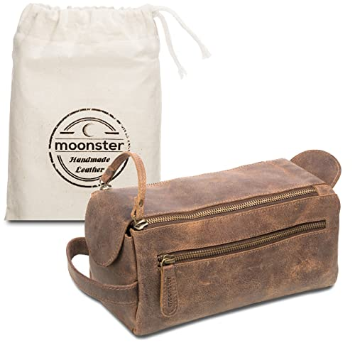 5c9dfe3f4562 Leather Toiletry Bag for Men - This Handmade Vintage Mens Wash Kit is  Small
