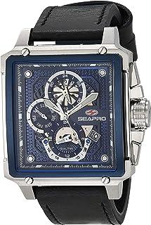 Seapro Men's Dual Timer Stainless Steel Quartz Leather Strap, Black, 24 Casual Watch (Model: SP0112)