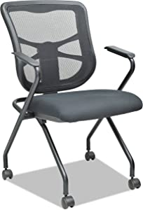 Alera Elusion Mesh Nesting Chairs, Black (Case of 2)