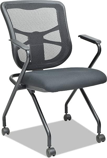 Alera ALEEL4914 Elusion Mesh Nesting Chairs Black Case Of 2