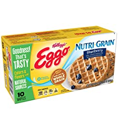 Kellogg's Eggo, Nutri-Grain, Frozen Waffles, Blueberry, Easy Breakfast, 12.3 oz Box (10 Count)