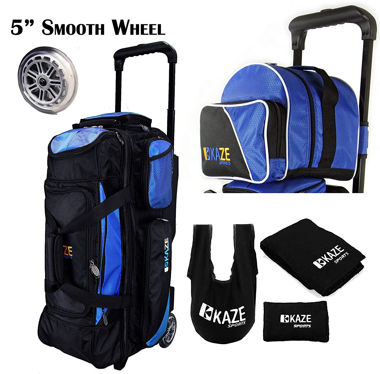 KAZE SPORTS 3 Ball Bowling Roller with Color Match Add On Spare Tote and Accessories Pack