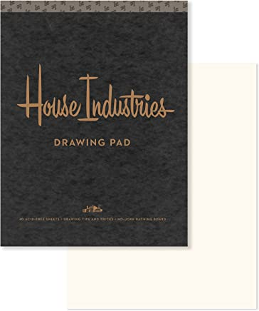 House Industries Drawing Pad: 40 Acid-Free Sheets, Drawing Tips, Extra-Thick Backing Board