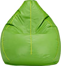 Amazon Brand - Solimo XXXL Bean Bag Cover (Green with Yellow Piping)