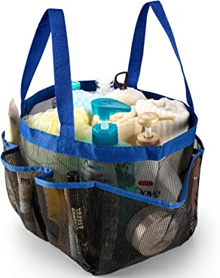 iPEGTOP Mesh Shower Caddy, Portable Quick Dry Shower Tote Bag Hanging Bath & Toiletry Organizer with 9 Storage Pockets, Double Handles for College Dorm, Travel, Gym & Camping, Blue