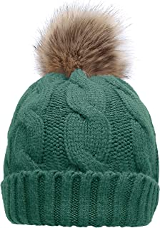 Women's Winter Ribbed Knit Faux Fur Pompoms Chunky Lined Beanie Hats