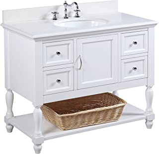 Beverly 42-inch Bathroom Vanity (Quartz/White): Includes Quartz Countertop, White Cabinet with Soft Close Drawers, and White Ceramic Sink