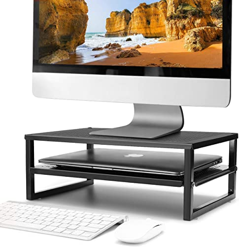 popular CAXXA 2-Tier Metal Laptop PC Monitor new arrival Stand Riser MAX 50 LBS Loading for sale Monitor, Printer,Black online sale